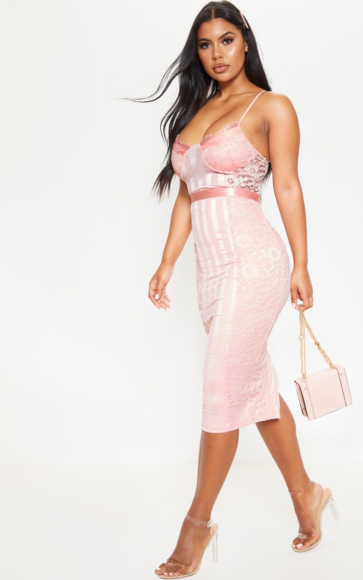 Pink Lace Lined Midi Dress 4