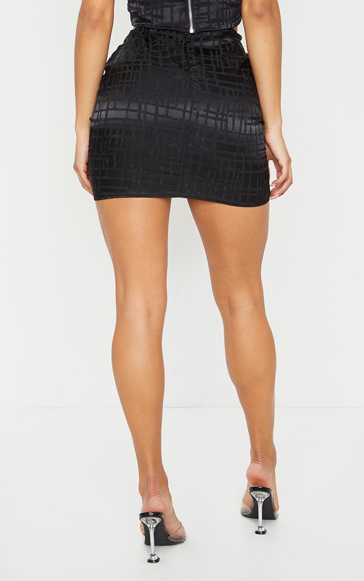 Black Print Satin Mini Skirt 3