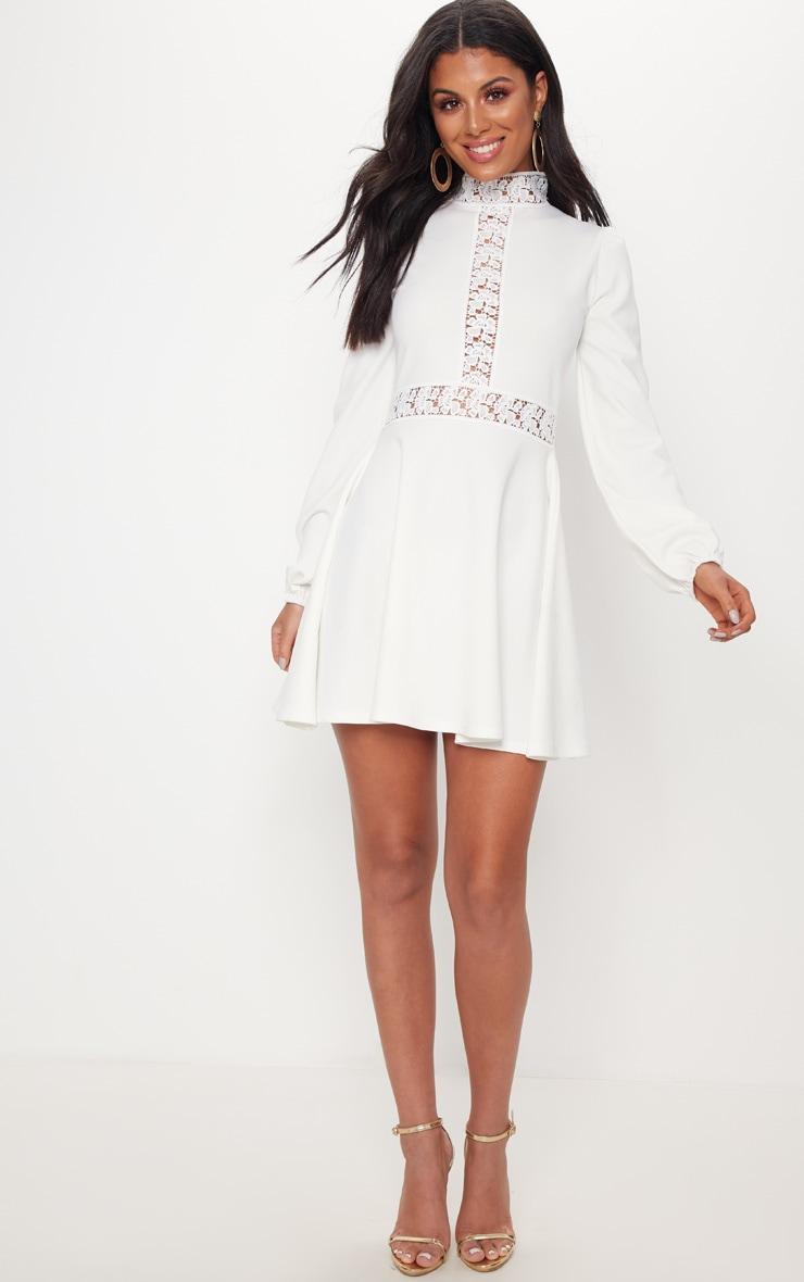 White Trim Detail Skater Dress 4