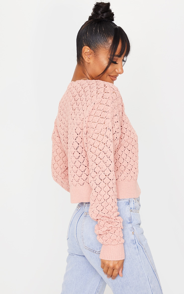 Blush Pointelle Detail Button Up Cardigan 2