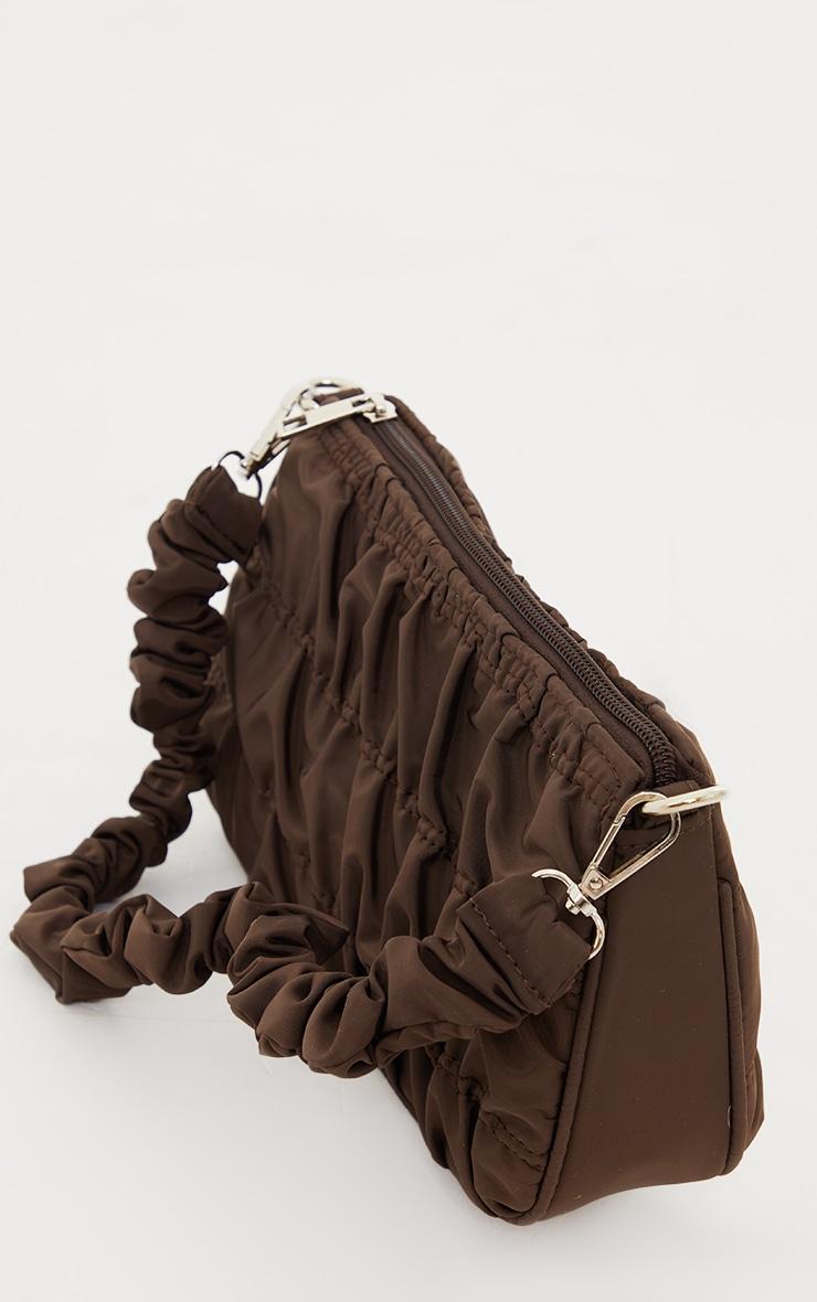 Chocolate Nylon Ruched Shoulder Bag 2