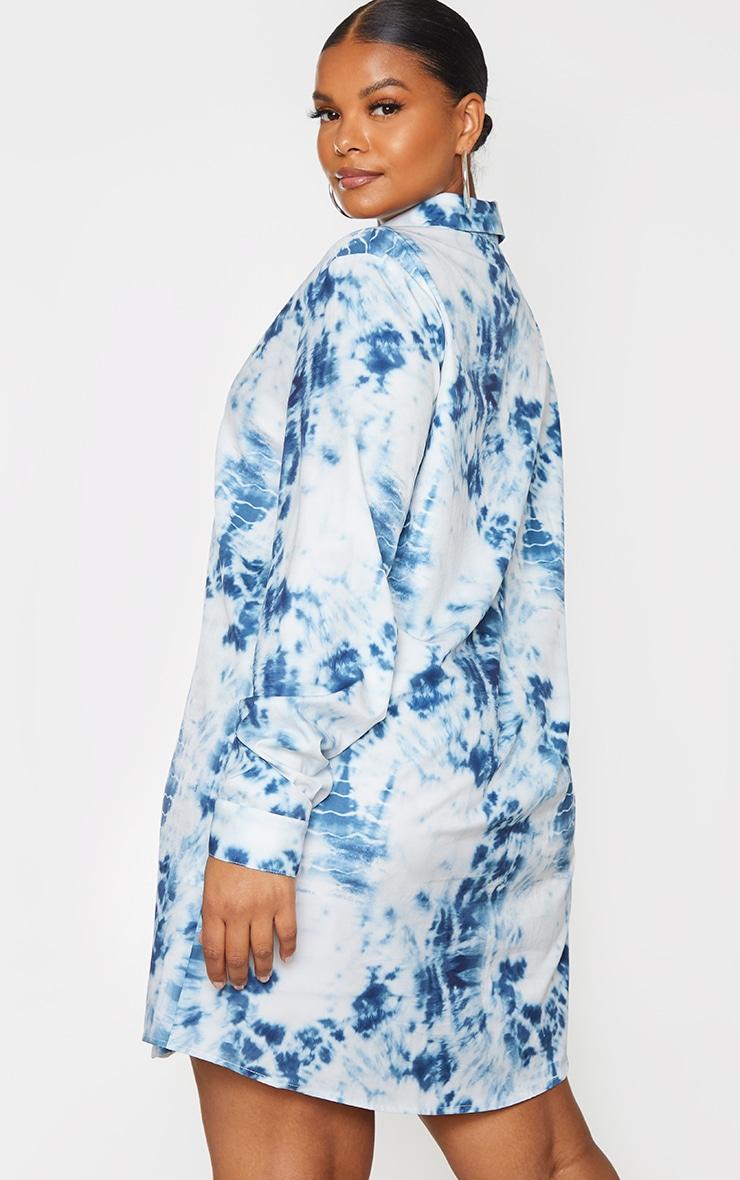 Plus Dusty Blue Tie Dye Oversized Shirt Dress 2