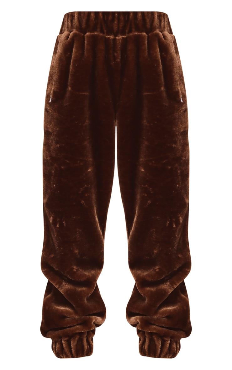 Chocolate Brown Faux Fur Jogger 4
