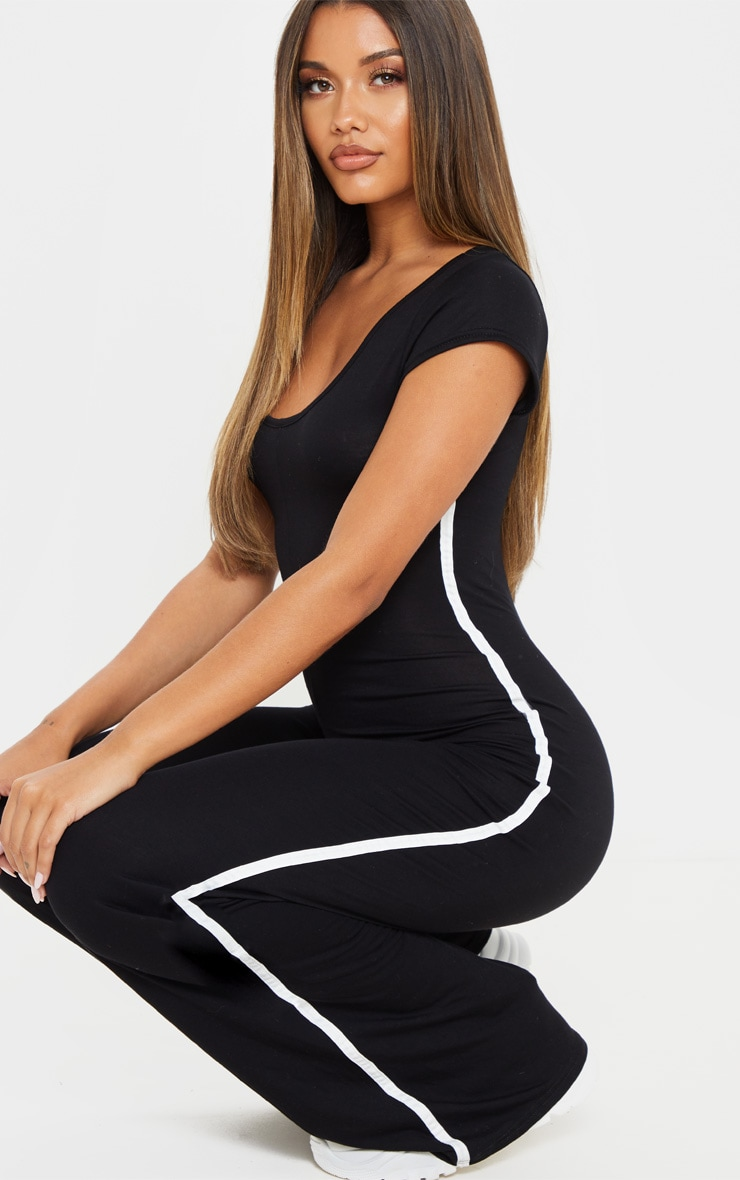Black Cap Sleeve Sports Stripe Wide Leg Jumpsuit 5