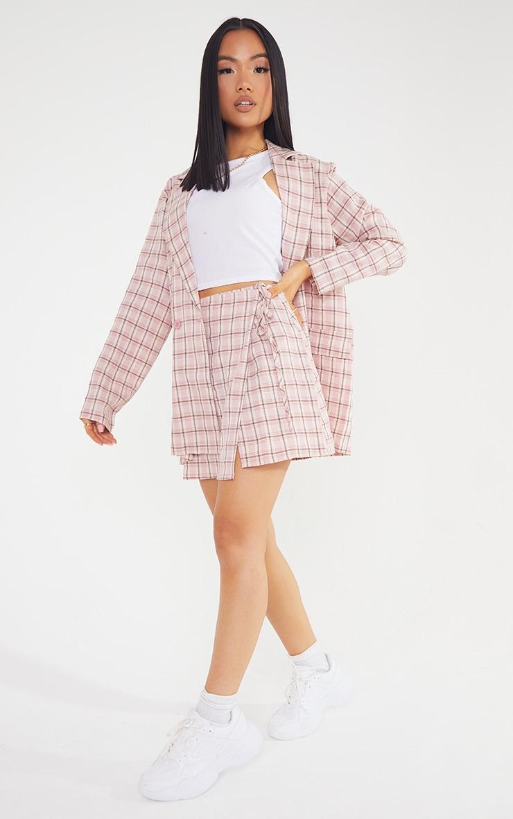 Petite Pink Check Tie Waist Skirt  1