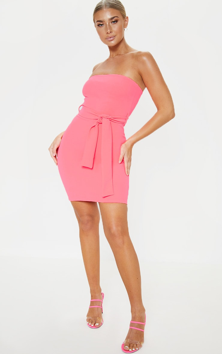 Neon Pink Bandeau Tie Waist Bodycon Dress 4