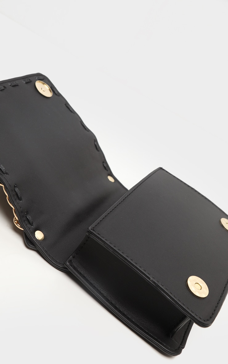 Black PU Chain Mini Grab Bag     4