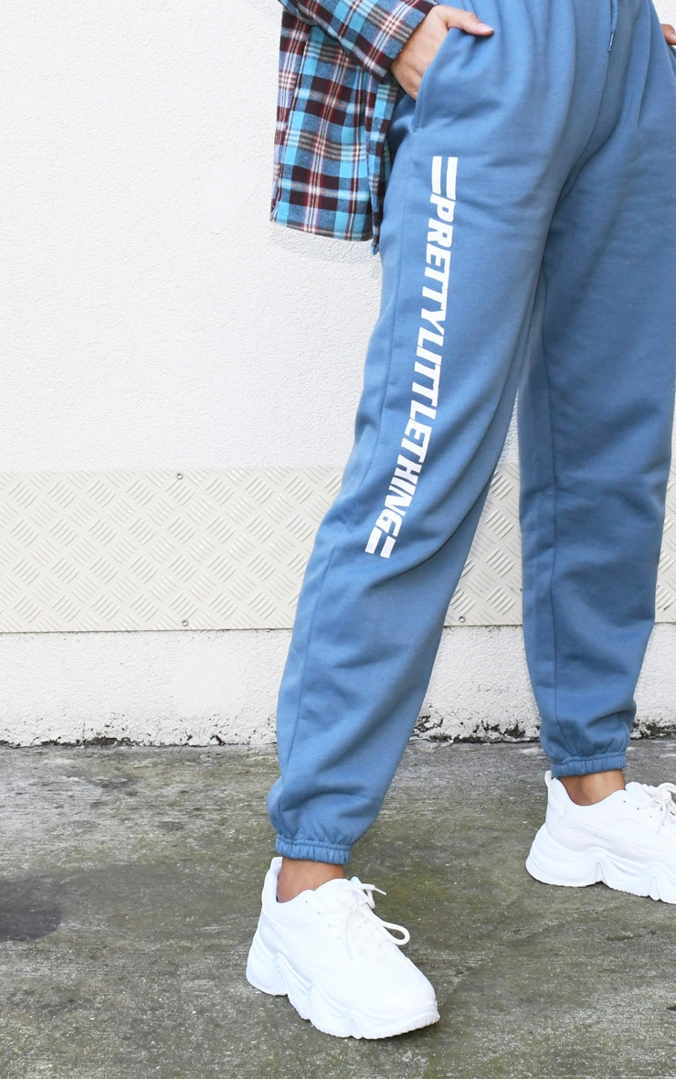 PRETTYLITTLETHING Dusty Blue Logo Stripe Joggers 4