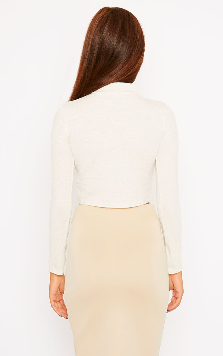 Basic Cream Ribbed High Neck Crop Top 2