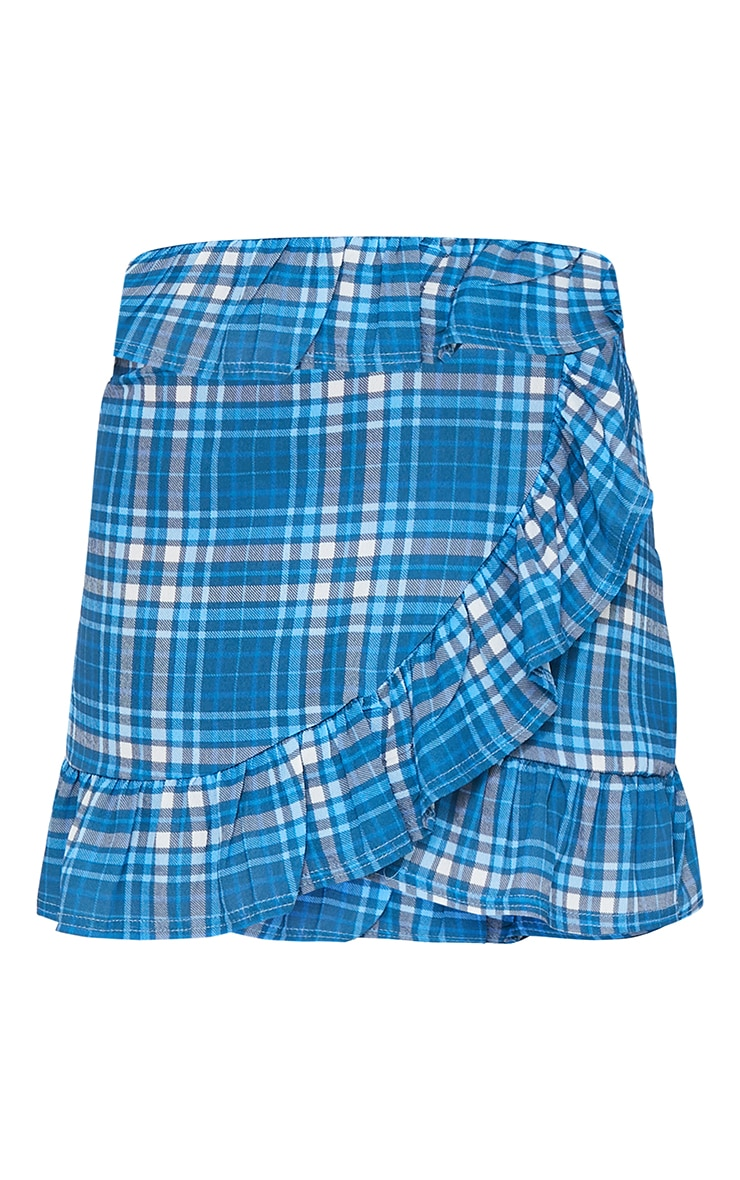 Blue Check Frill Hem Mini Skirt 6
