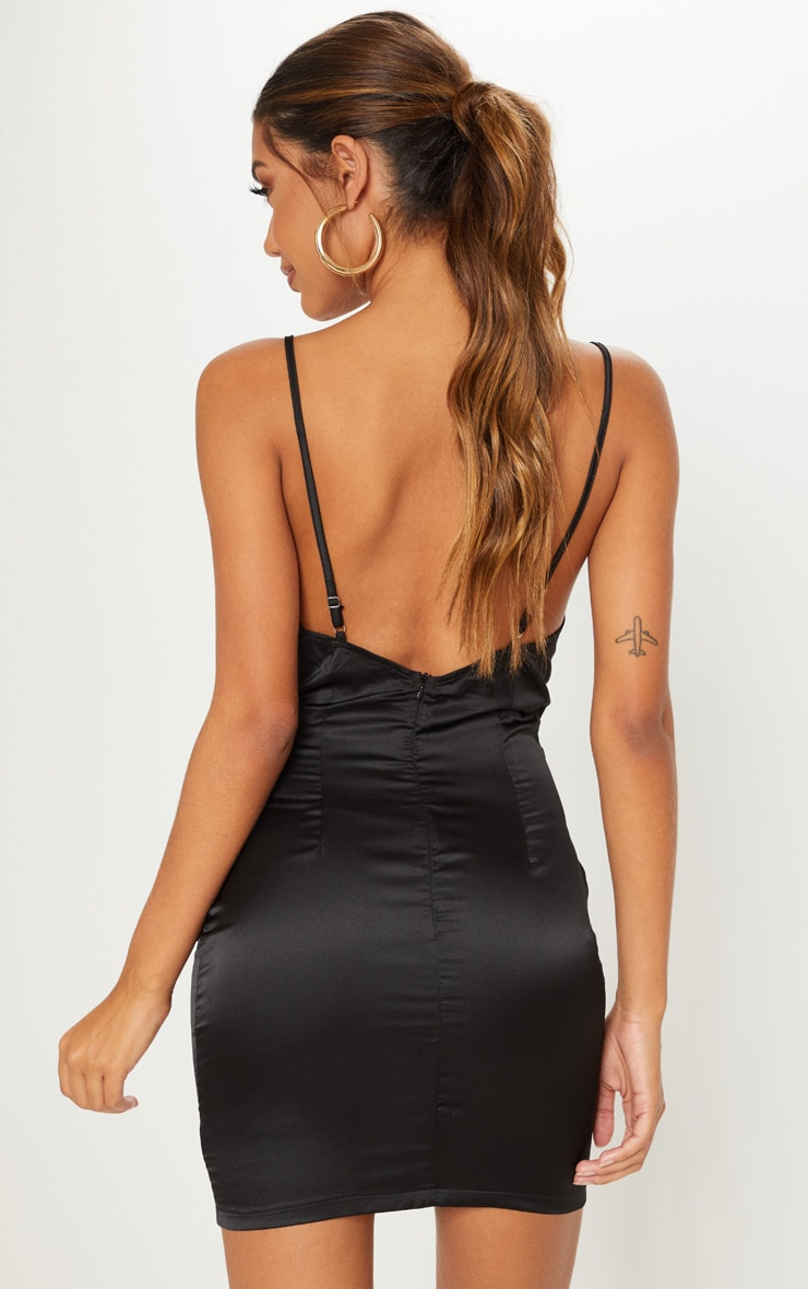 Black Satin Cowl Neck Ring Detail Bodycon Dress 2