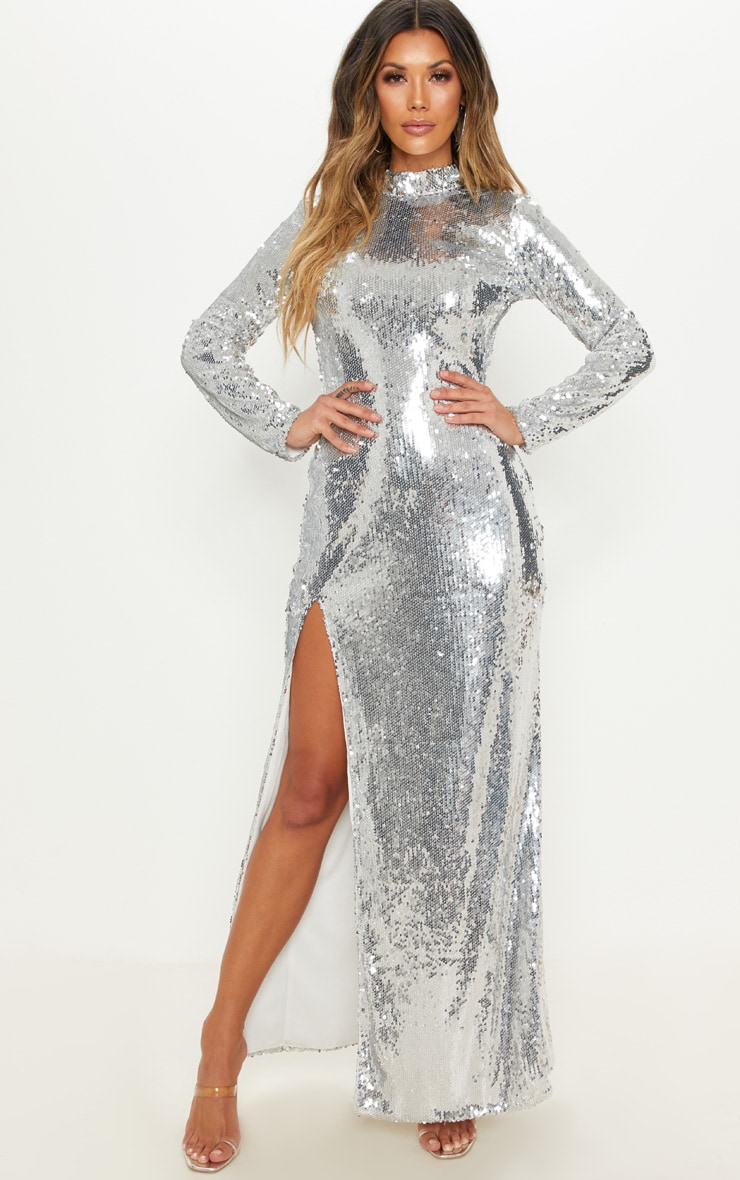Silver Sequin Backless Maxi Dress   Dresses   PrettyLittleThing USA