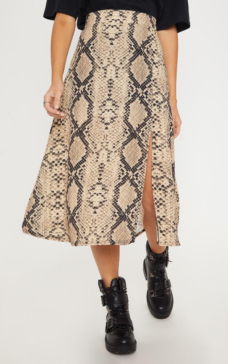 Snake Print Floaty Midi Skirt 2