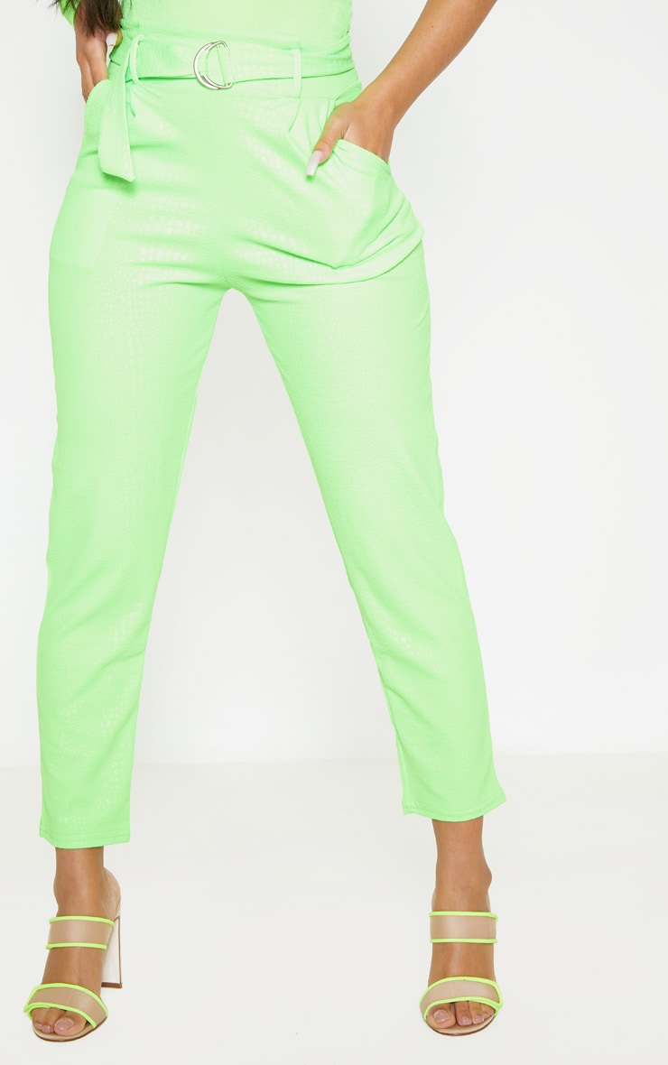 Neon Lime Croc Print D Ring Belted Skinny Trousers 2