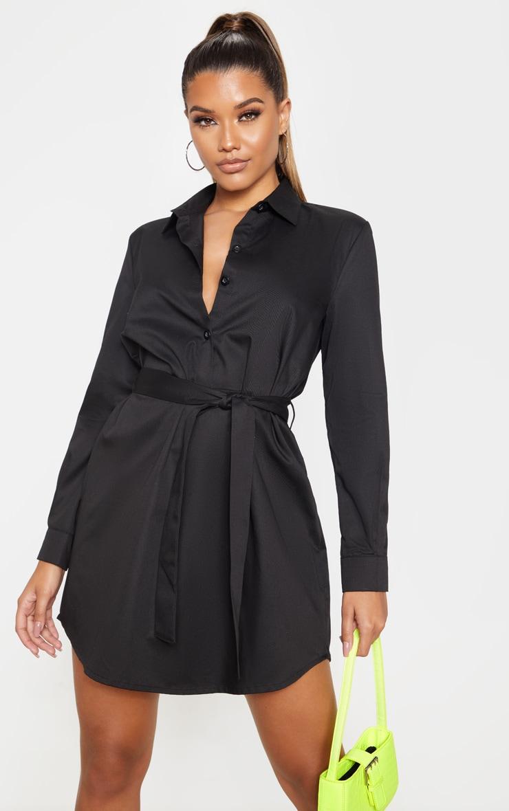Black Pleated Woven Shirt Dress 1