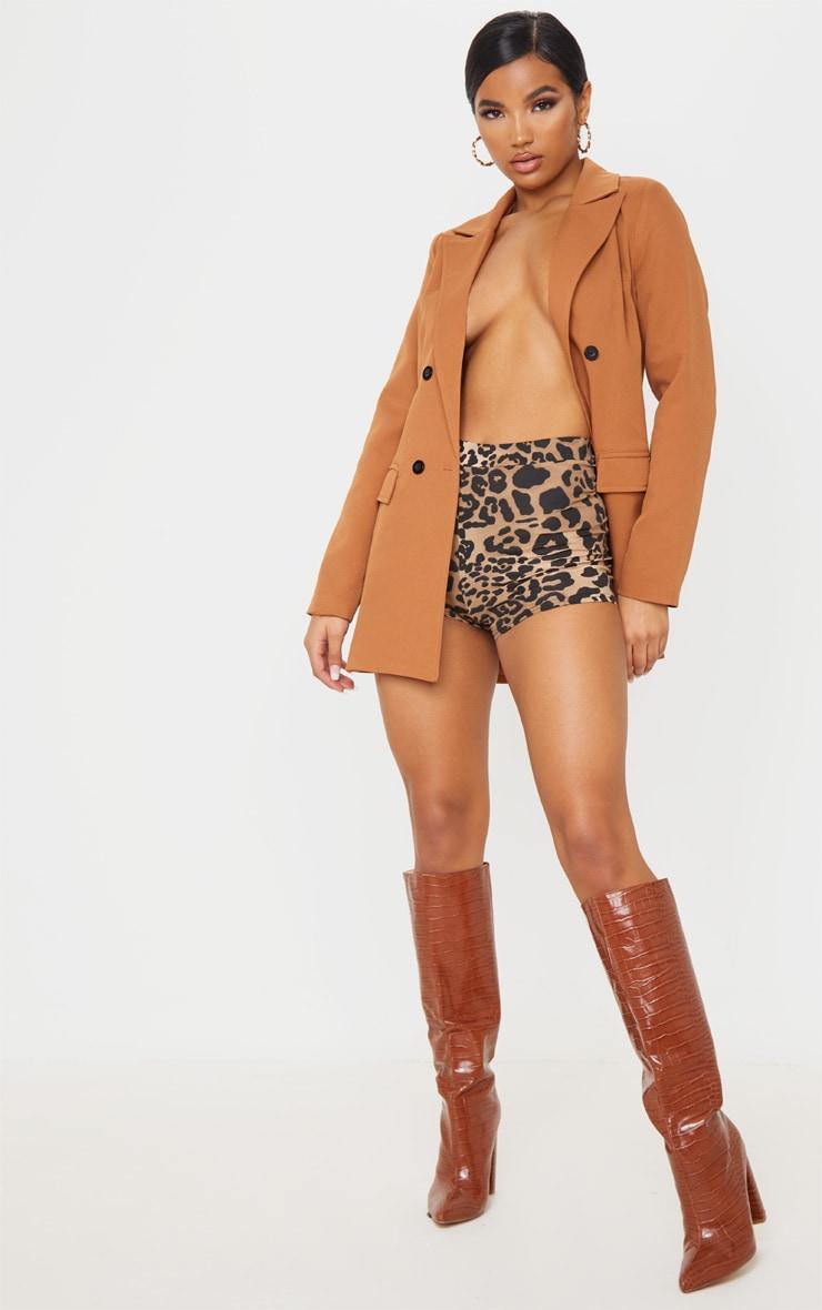 Leopard Print Jersey High Waisted Hot Pants 5