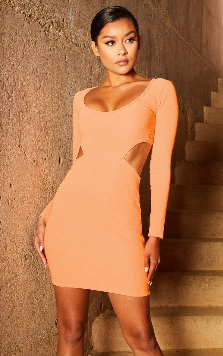 Peach Second Skin Scoop Neck Cut Out Side Bodycon Dress 1