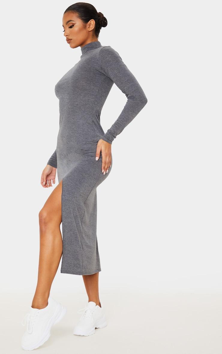 Grey Long Sleeve High Neck Split Front Midi Dress 4