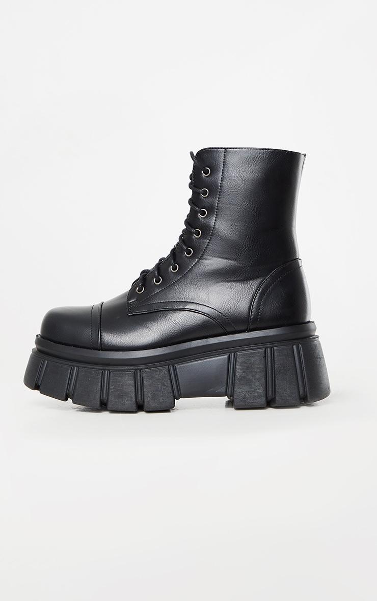 Black Extreme Flatform Sole Biker Boots 3