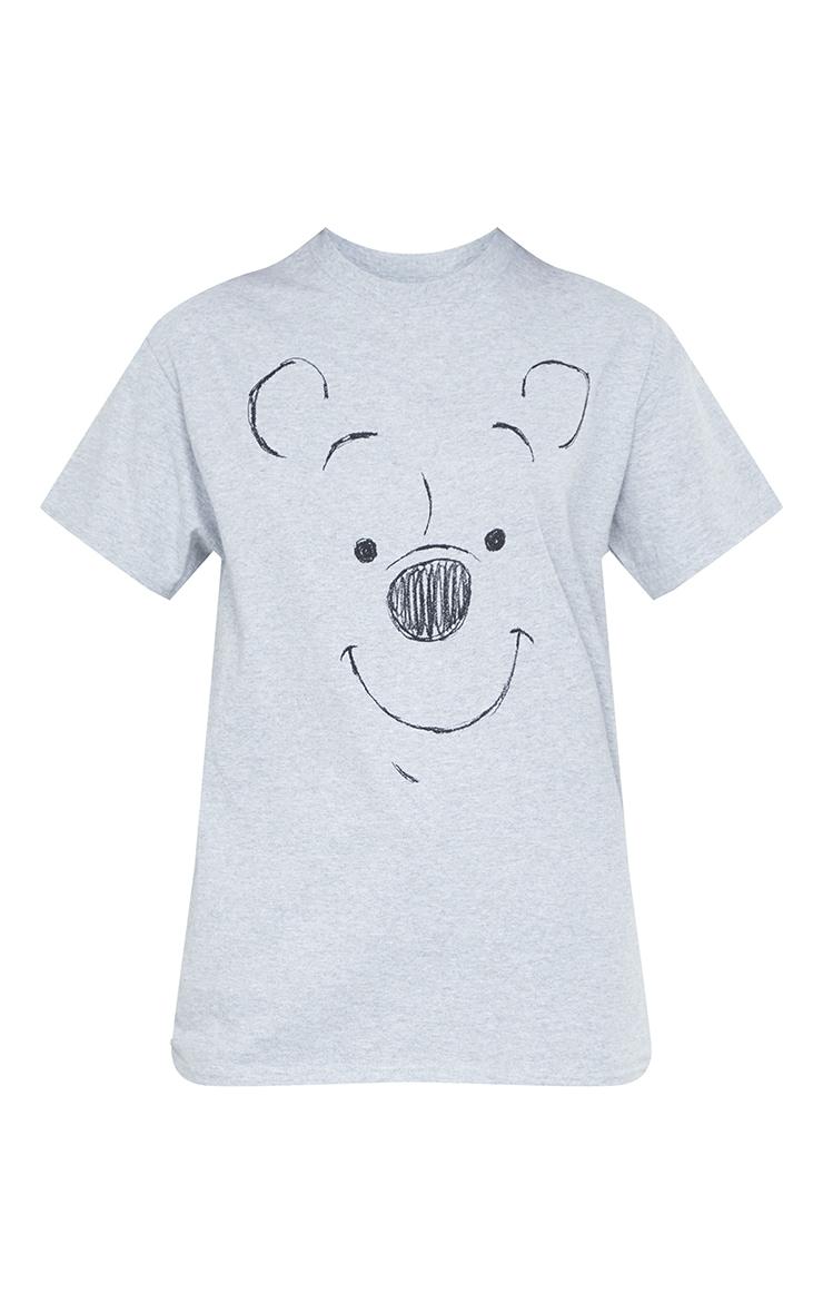 Grey Disney Winnie The Pooh Drawing Printed T Shirt 5