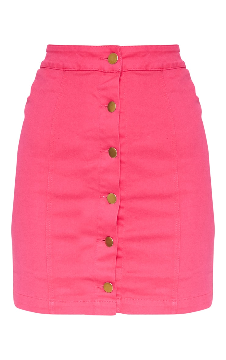 Bright Pink Cammie Denim Mini Skirt 3