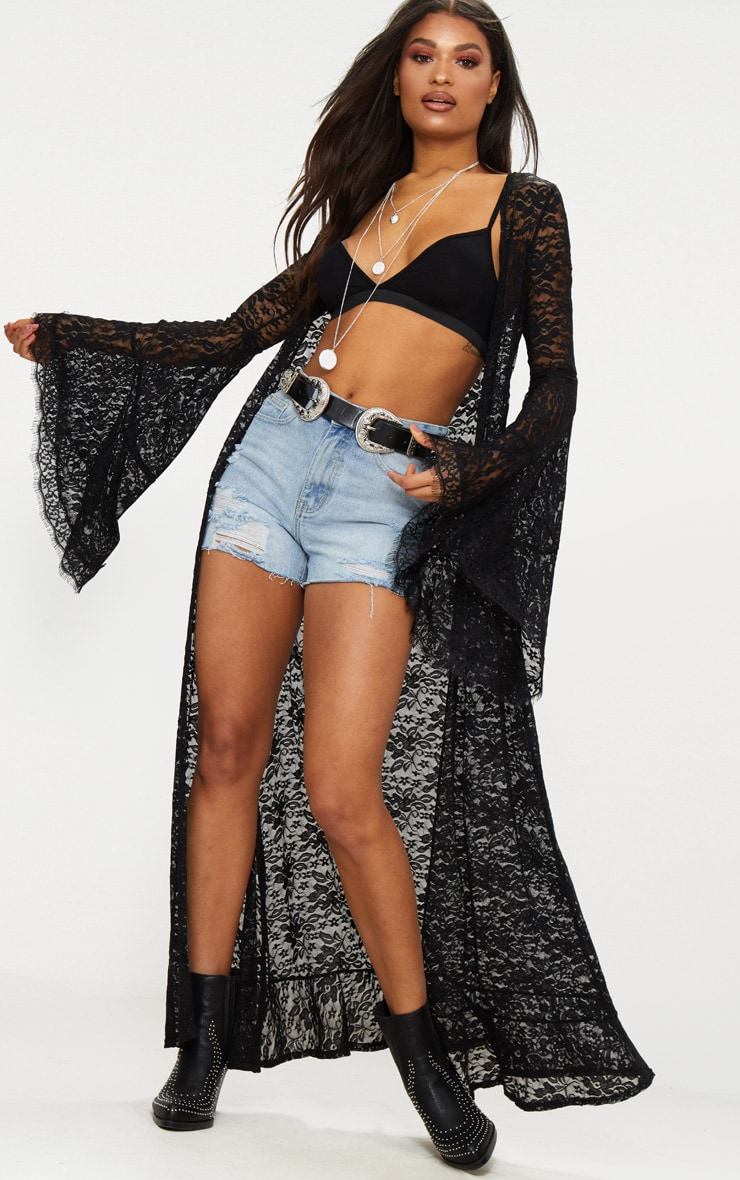 Black Lace Flare Sleeve Maxi Kimono 1
