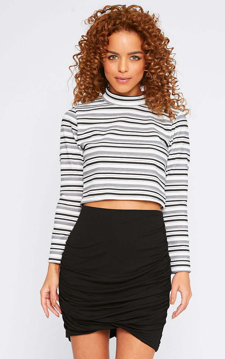 Leah Monochrome Stripe High Neck Crop Top 1