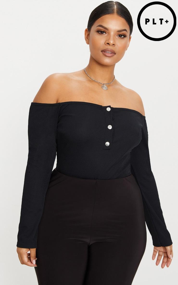 Plus Black Ribbed Popper Bardot Bodysuit 1