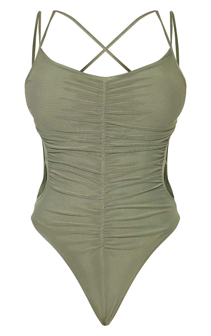 Shape Olive Mesh Ruched Strap Detail Cut Out Bodysuit 5