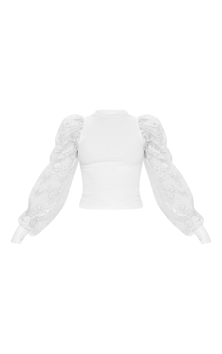 White Floral Embroidered Puff Sleeve Rib Long Top 5
