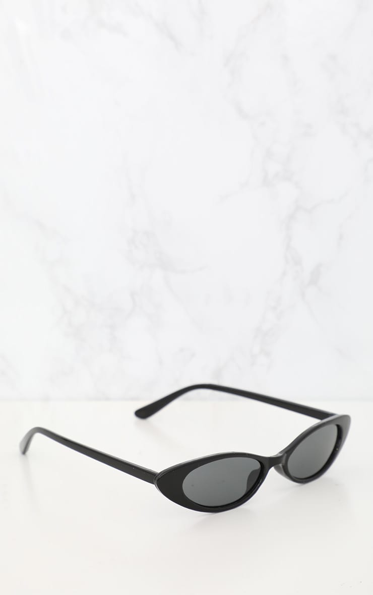 Black Matte Thin Retro Sunglasses 2