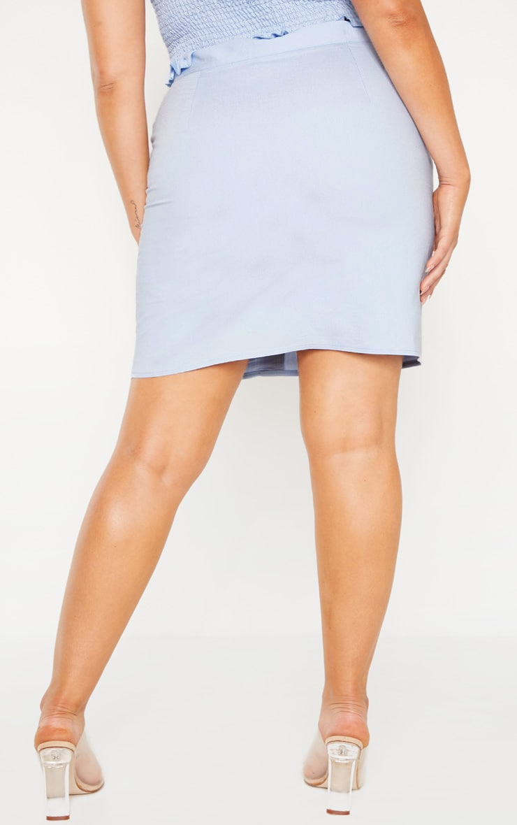Plus Dusty Blue Button Front Bodycon Skirt  4