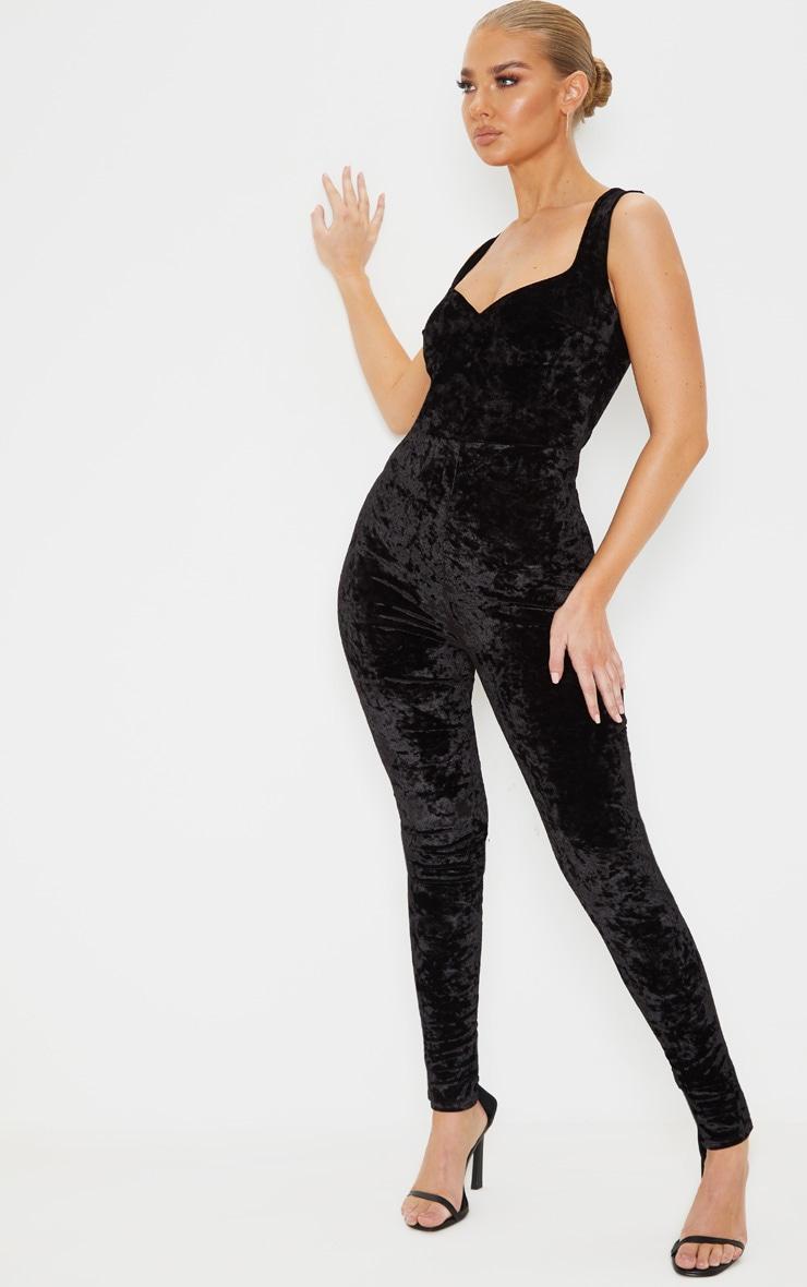 Black Crushed Velvet Sweetheart Neckline Jumpsuit 4