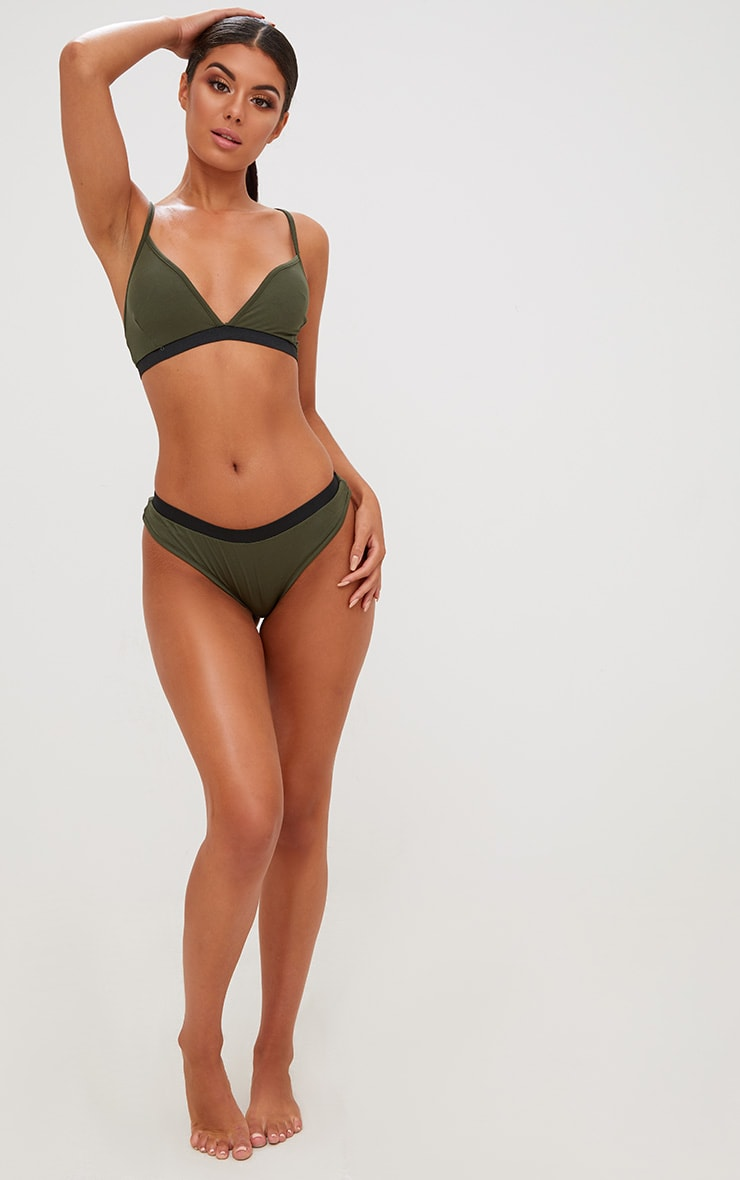 Basic Khaki Jersey Bra and Knicker Set 4