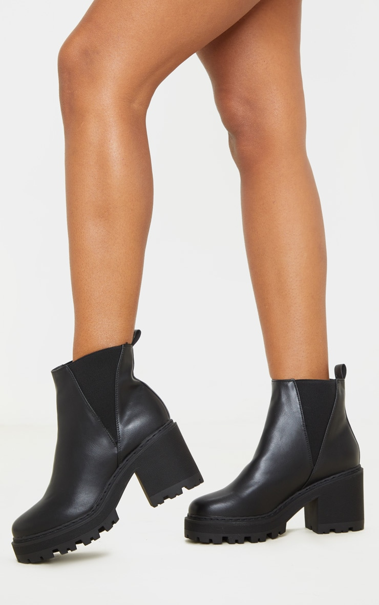 Black Wide Fit Cleated Chunky Chelsea Boot 2
