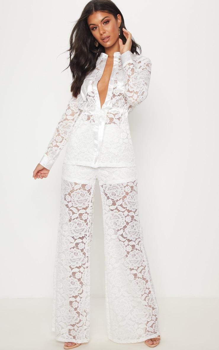 White Lace Military Detail Tie Waist Shirt 4