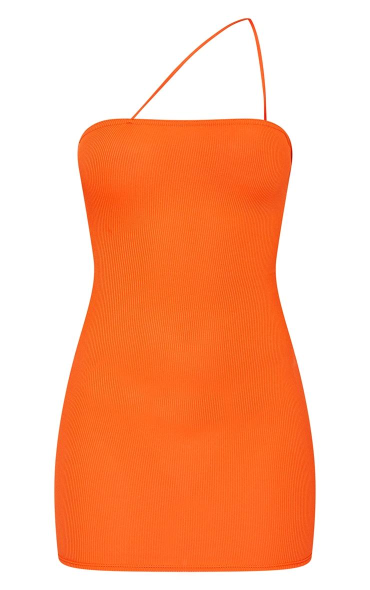 Orange Ribbed One Shoulder Spaghetti Strap Bodycon Dress 5