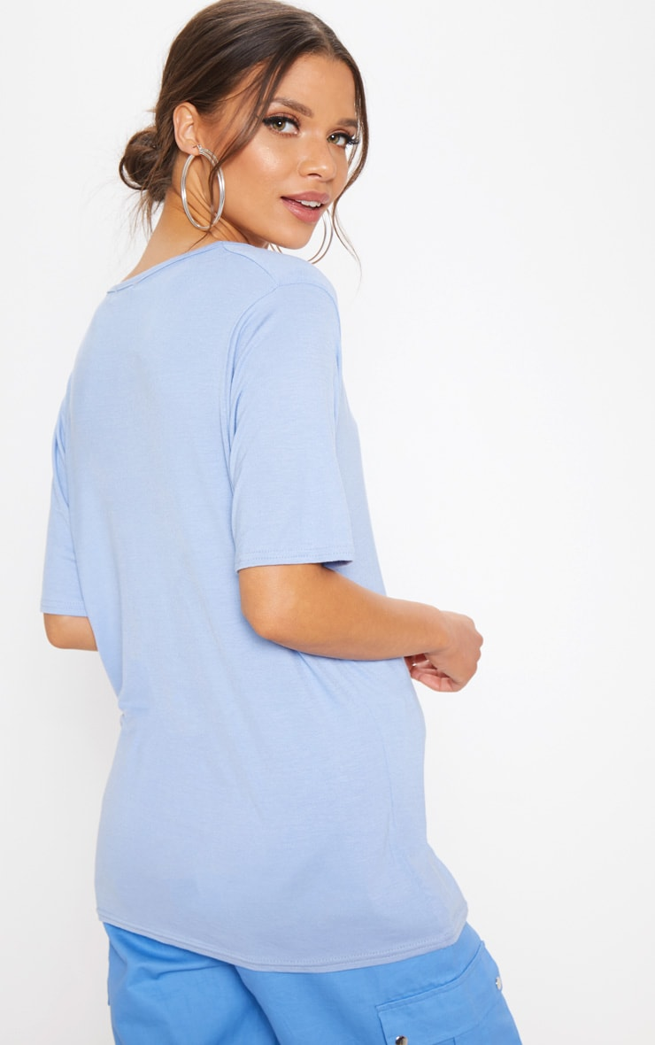 Basic Baby Blue V Neck T Shirt 2