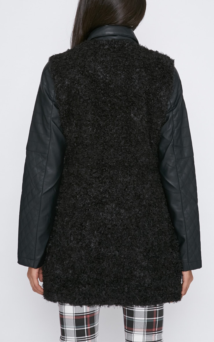 Fawn Black Curly Fur Coat with Leather Sleeves-XS 2