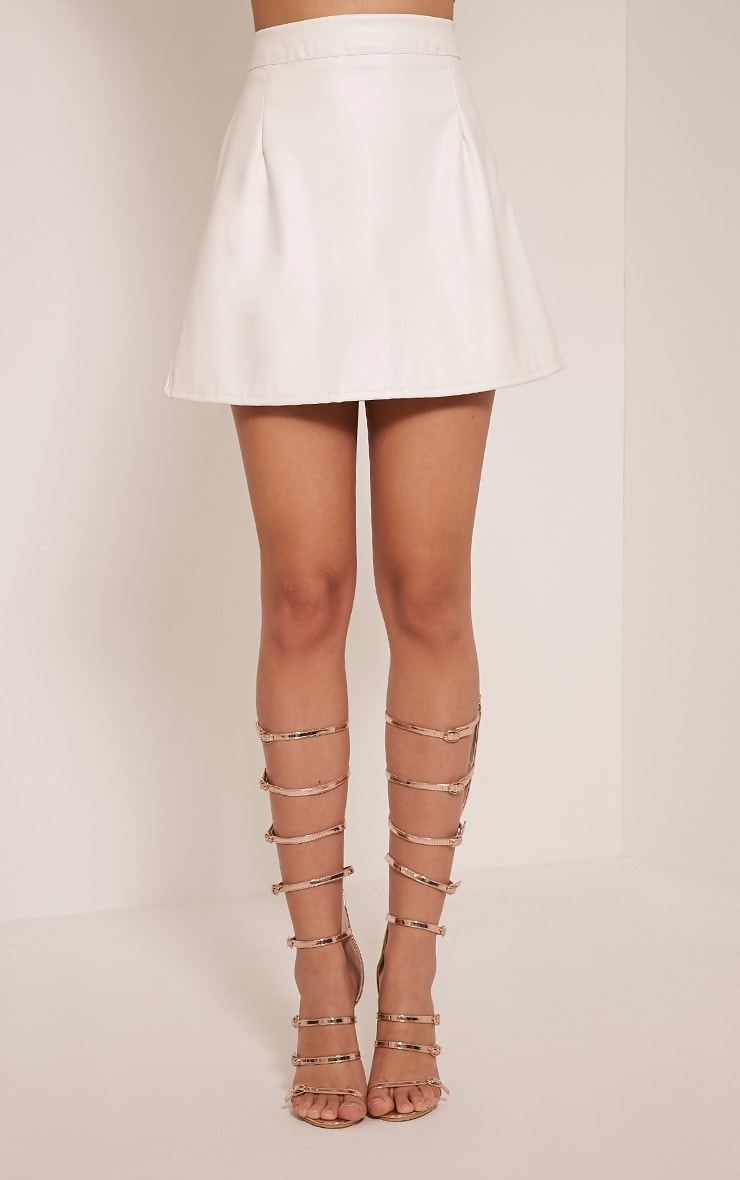 Rose White Faux Leather A-Line Mini Skirt 2