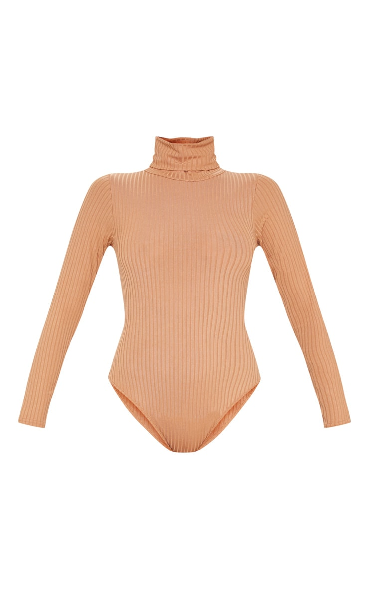 Camel Rib Roll Neck Long Sleeve Bodysuit 3