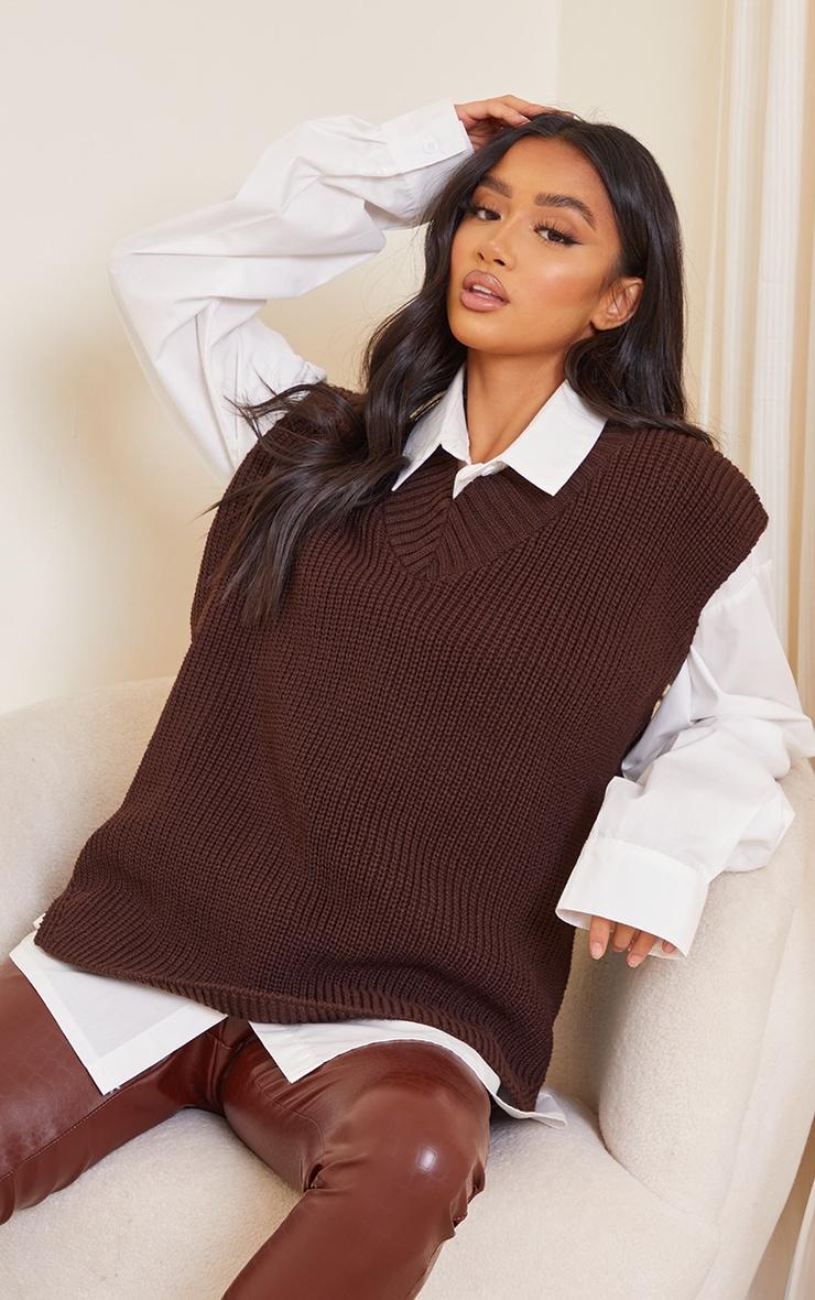 Petite Chocolate V Neck Knitted Side Split Vest 1