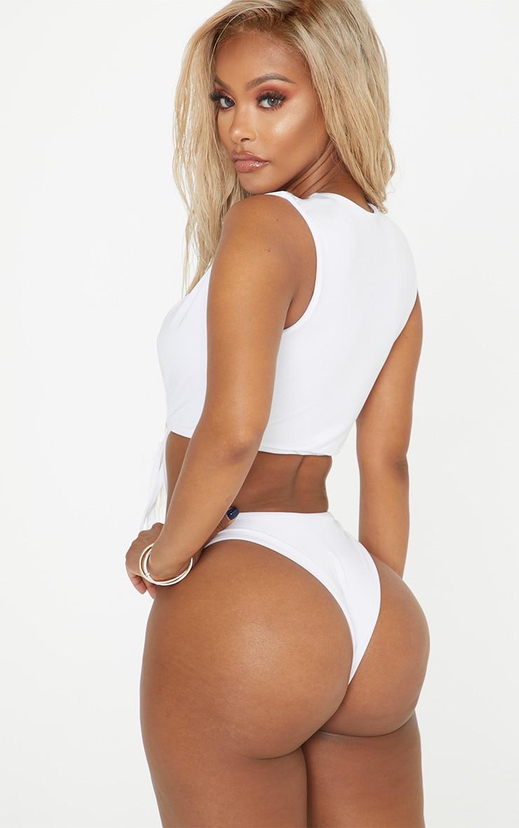 Shape White High Rise Bikini Bottom 2