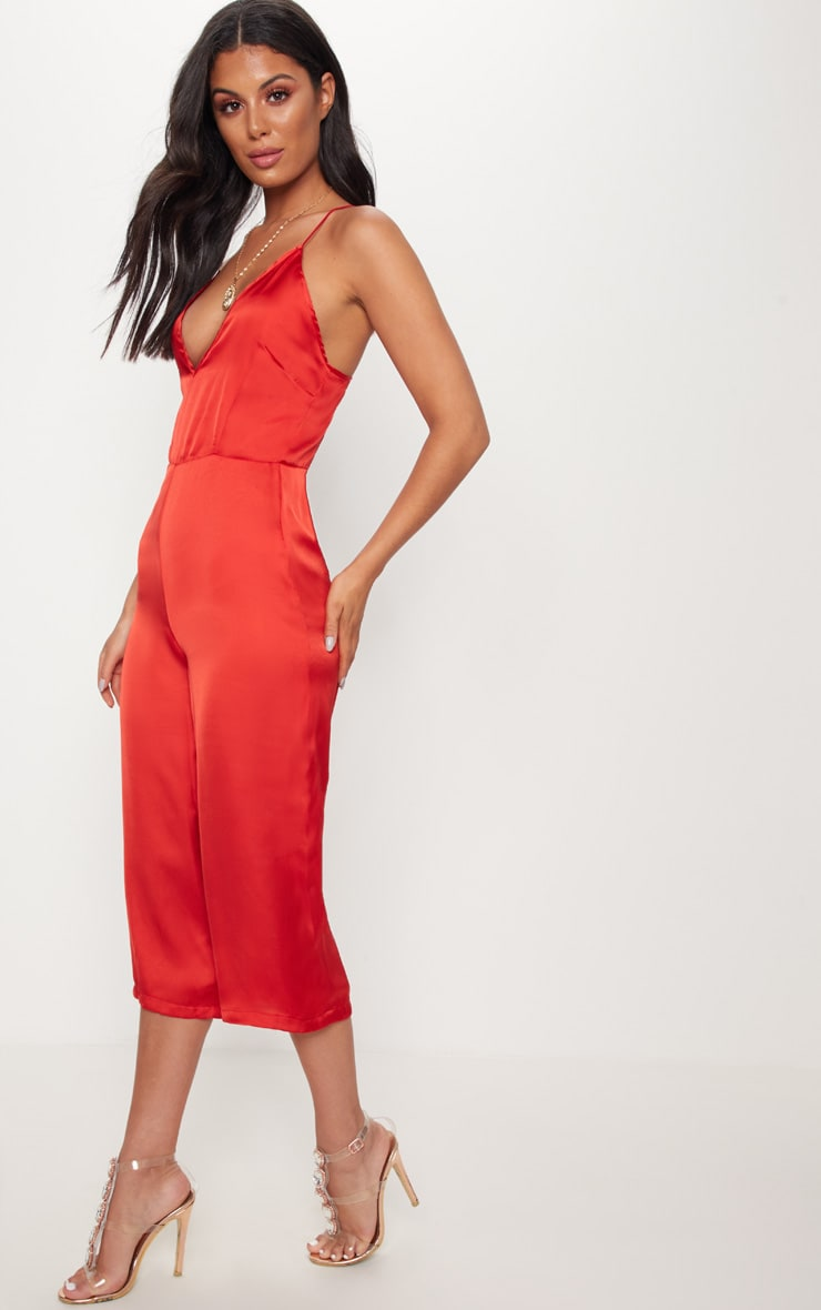 Red Strappy Back Plunge Culotte Jumpsuit 4