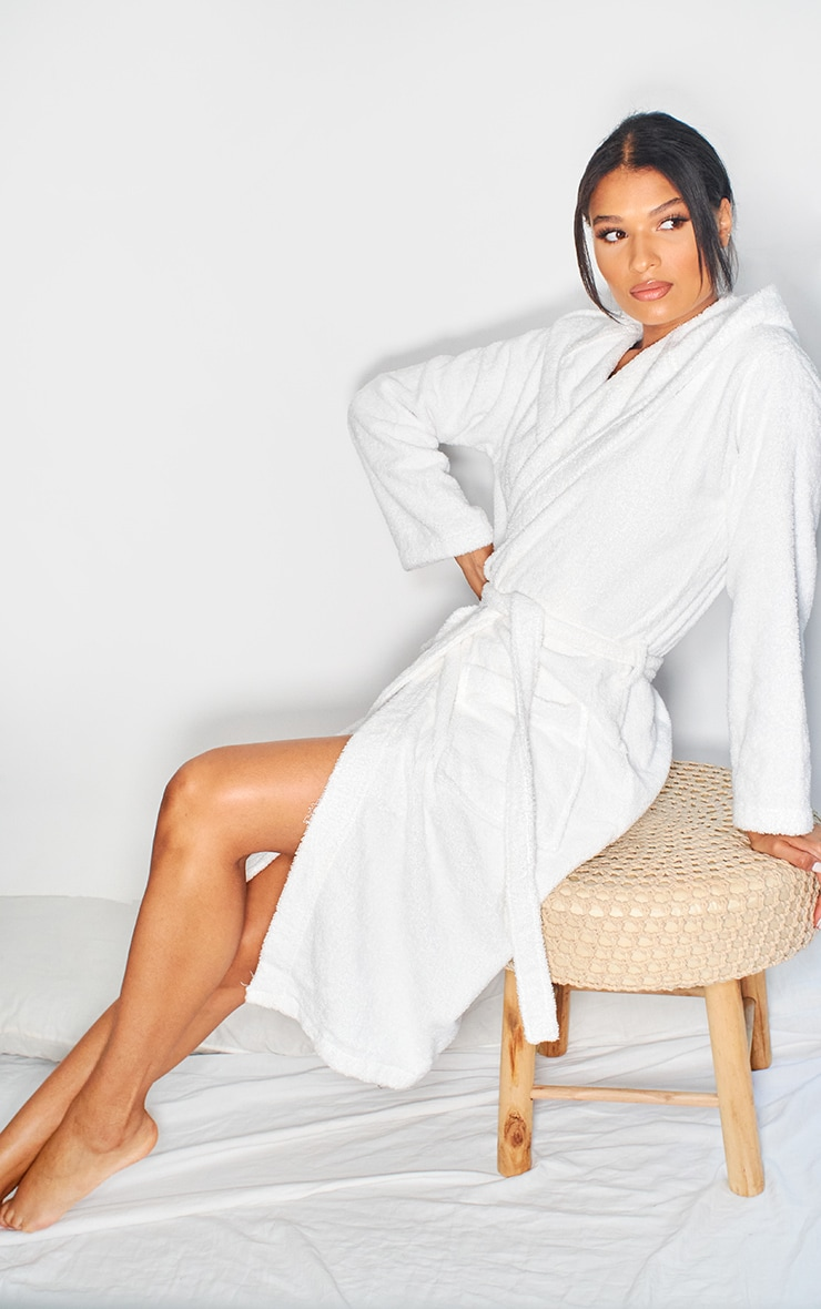 White Hooded Towelling Dressing Gown 2