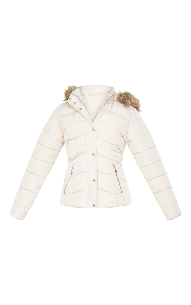 Stone Quilted Mara Faux Fur Hooded Puffer Jacket 5
