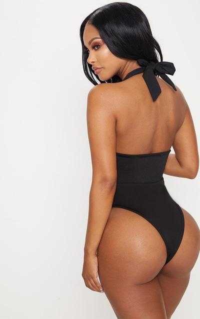 Shape Black Cut Out Front Halterneck Swimsuit