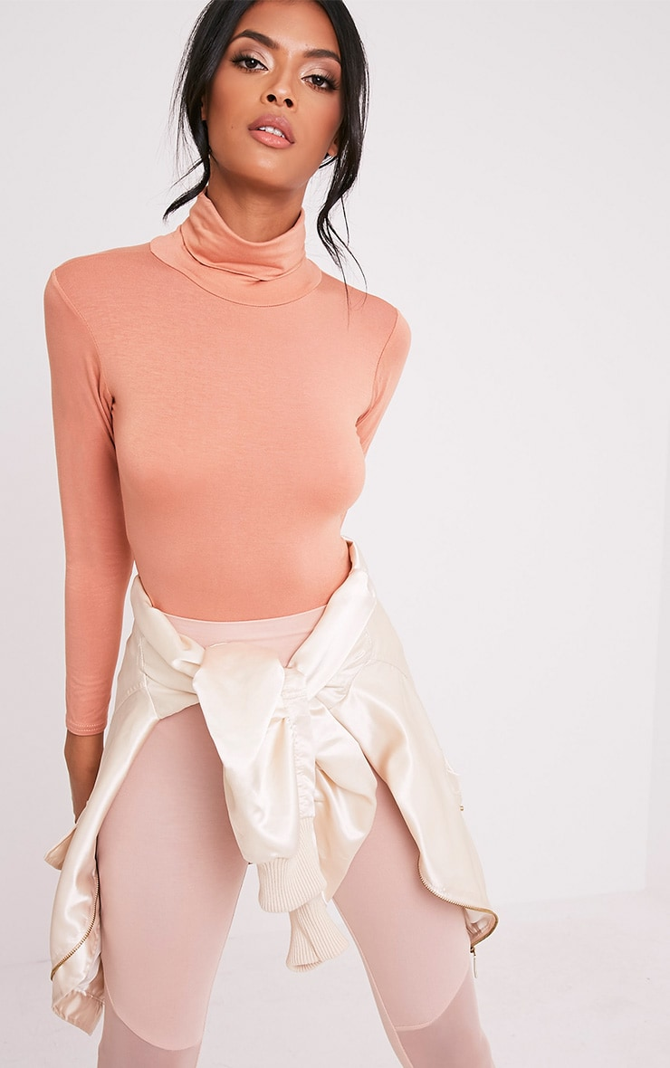 Basic Peach Roll Neck Thong Bodysuit 1