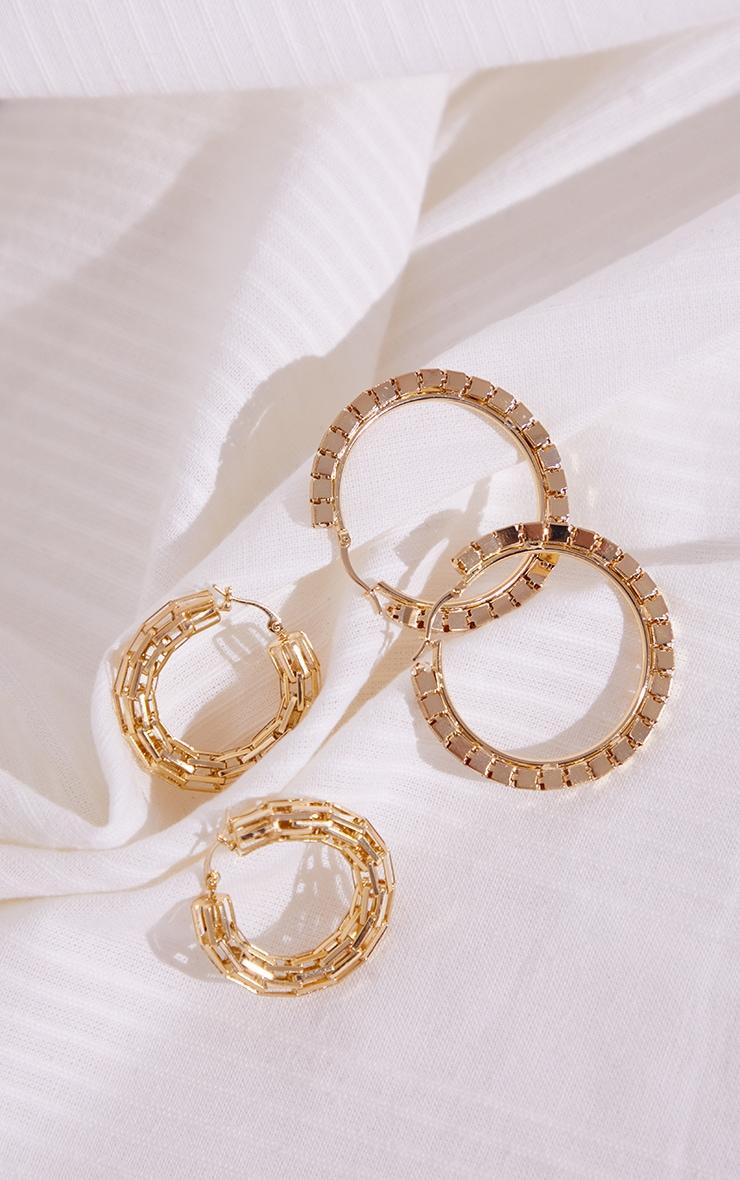 Gold Chunky Square Link 2 Pack Hoop Earrings 1