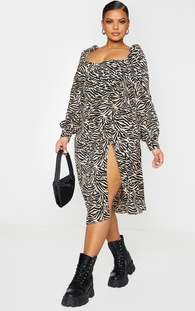 Plus Beige Tiger Puff Sleeve Midi Dress 3
